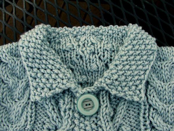 d2848a693 Bead Knitter Gallery  Baby Aran Cardigan in Aquarium Blue