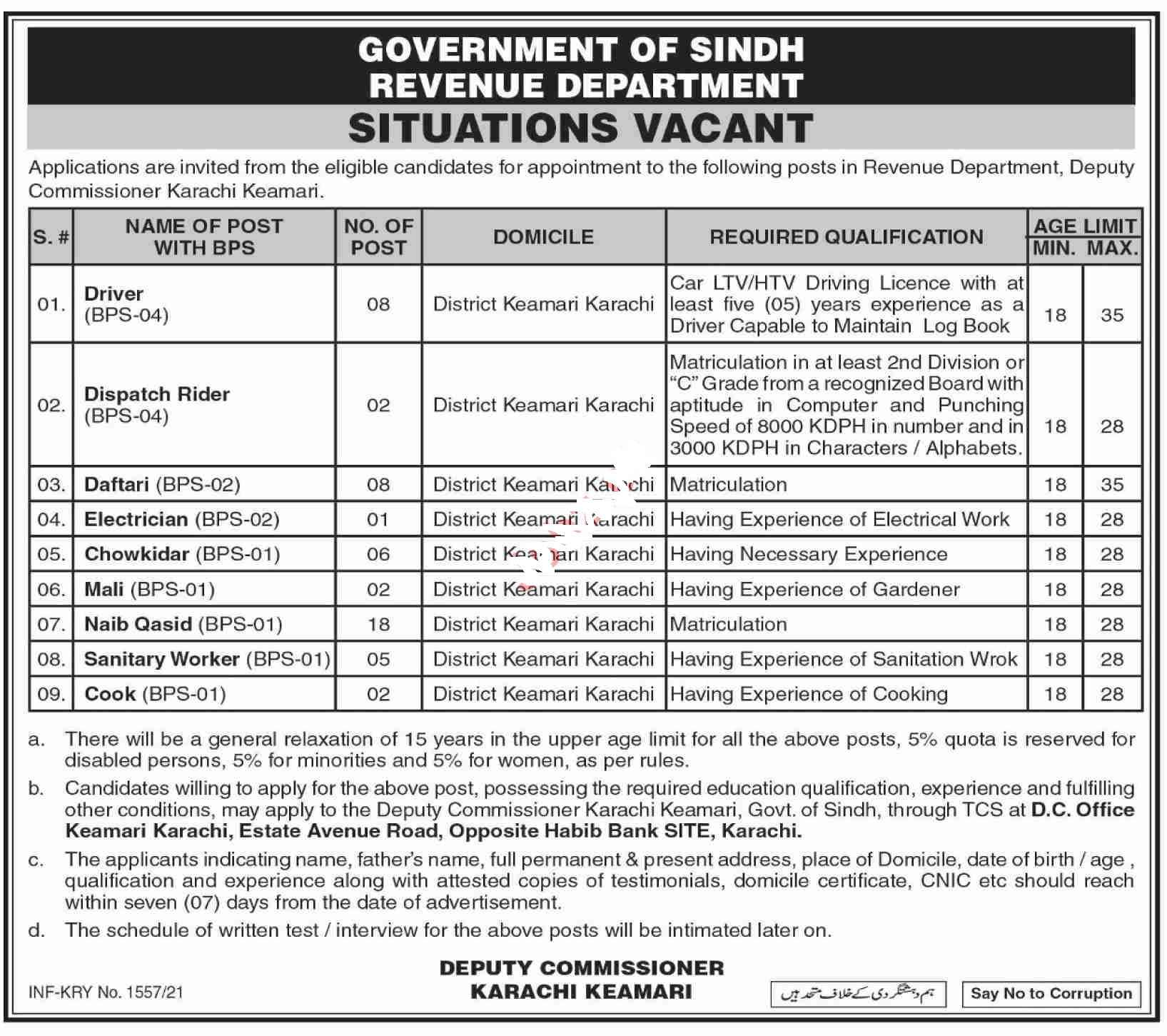 Revenue Department Government of Sindh Jobs 2021Driver, LTV Driver, HTV Driver, Dispatch Rider, Daftari, Electrician, Chowkidar, Mali, Naib Qasid, Sanitary Worker and more