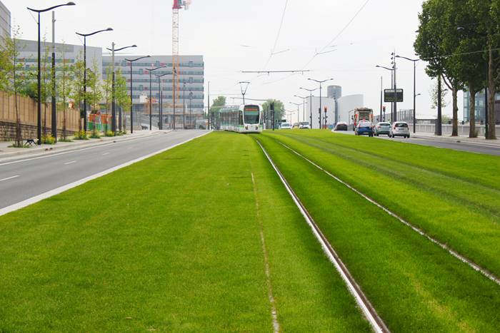 Tram tracks on many European cities are lined with grass, a practice that probably started in the 1980's to bring greenery back to city space and at the same time, provide habitable zone for numerous insects and invertebrates. These swaths of green provide a host of benefits to any urban area, like reduce urban heat island effect, provide a permeable surface for storm water to infiltrate, reduce pollution and absorb noise generated by the grinding of metal wheels on metal tracks. Not to mention, they look incredibly good in comparison to concrete or asphalt