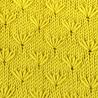 Textured Knitting - Dandelion flower stitch. It looks complicated, but is quite simple. A fun stitch pattern, will keep your interest, without getting you bored while knitting. - KnittingStitches.org