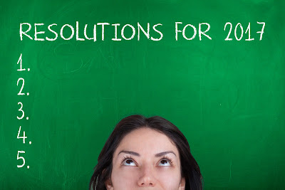 "Green background with white text ""RESOLUTIONS FOR 2017 1. 2. 3. 4. 5."" with image of brunette woman looking up at text."