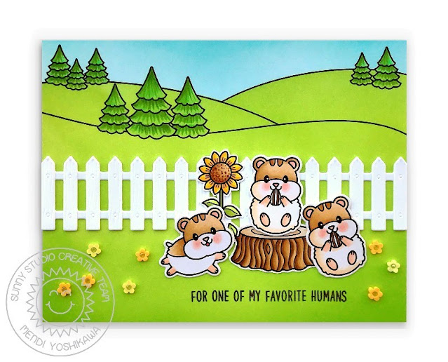 Sunny Studio: For One of My Favorite Humans Card (using Happy Hamsters, Scenic Route, Foxy Christmas, Happy Harvest & Devoted Doggies Stamps with Picket Fence Dies)