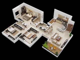 Denah Rumah minimalis 3 kamar ukuran 7x9 3D (tiga dimensi)