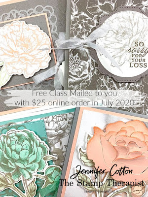Free class kit mailed to you!!  Free with $25 online order in July 2020 (US).  Everything cut/punched/die cut; you just stamp & assemble!  Click the picture to go to blog for details!  #StampinUp #StampTherapist Prized Peony by Stampin' Up!®