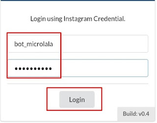 Memasukan username dan password di Hublaagram