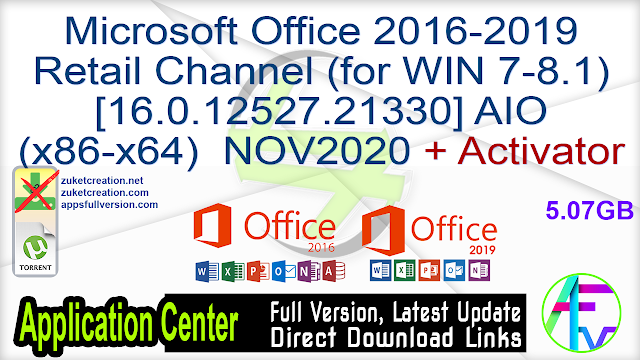 Microsoft Office 2016-2019 Retail Channel (for WIN 7-8.1) [16.0.12527.21330] AIO (x86-x64) NOV2020 + Activator