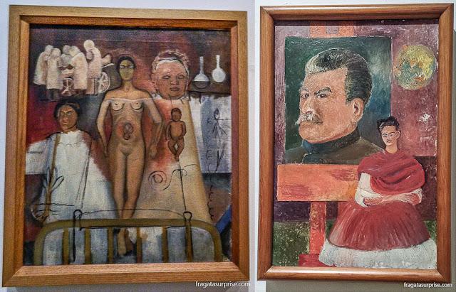 """Obras de Frida Kahlo: """"Frida e a Cesariana"""" e """"Autorretrato com Stalin"""""""