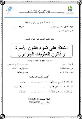مذكرة ماستر: النفقة على ضوء قانون الأسرة وقانون العقوبات الجزائري PDF