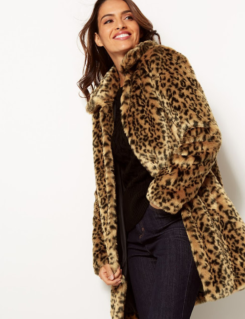 marks and spencer animal print faux fur coat