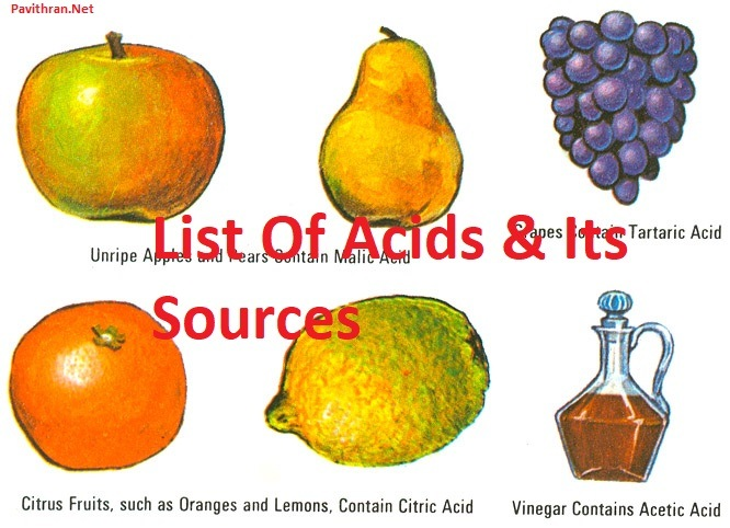 List of Organic Acids and its Source