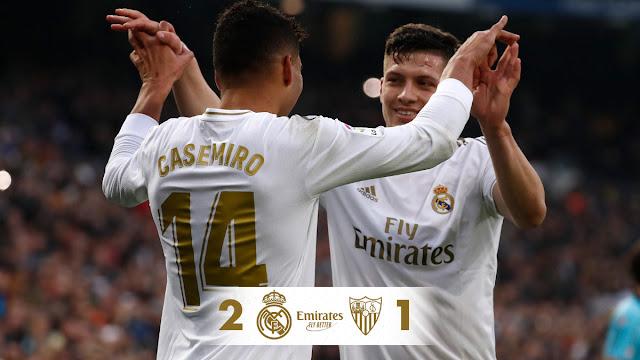 Real Madrid 2-1 Sevilla, Casemiro Hit Brace (Details, Photos & Highlight)