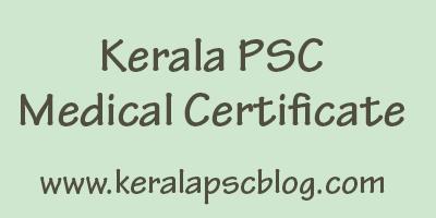 Kerala PSC Medical Certificate Format