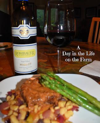 dinner plate with Merlot