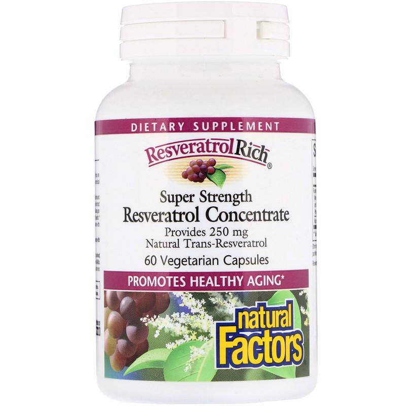 Natural Factors, ResveratrolRich, супер сильный концентрат ресвератрола, 60 растительных капсул