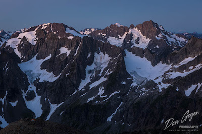 View from Sahale High Camp at dawn, North Cascades National Park, Washington, USA.