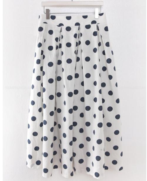 Polka Dot A-Line Midi Skirt