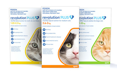 A photo of the three size packs of Revolution Plus for cats