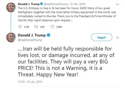 Donald Trump: Irán 'pagará precio muy alto' si se pierden vidas en instalaciones de Estados Unidos