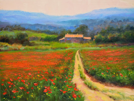 Poppy field – French countryside scene, landscape oil painting