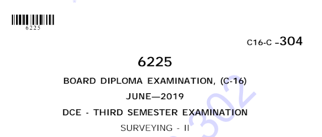 Sbtet Diploma Previous Question Paper c16 civil 304 Surveying-2 June 2019