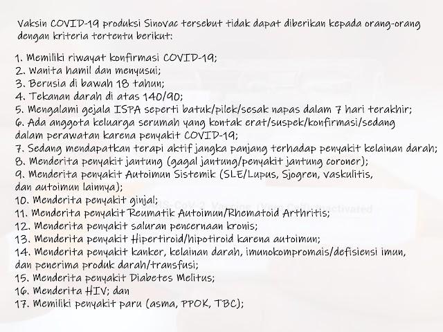 Ini 17 Kriteria  yang Tidak Dapat Diberikan Vaksin COVID-19 Produksi Sinovac