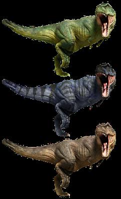 Three copies of an image of a tyrannosaurus rex.
