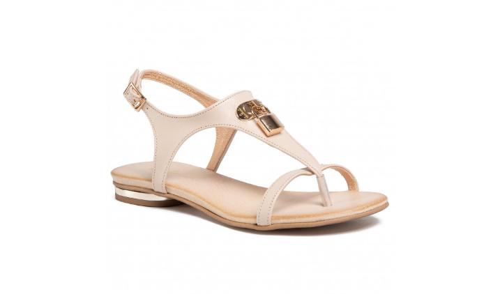 Sandale bej de femei din piele naturala la pret mic fara toc R.POLAŃSKI