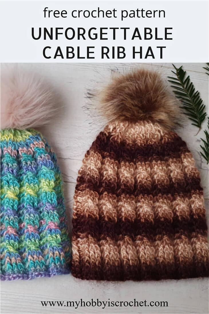 cable rib crochet hats
