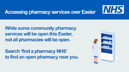 Easter holidays access a pharmacist by googling 'find a Pharmacist NHS'