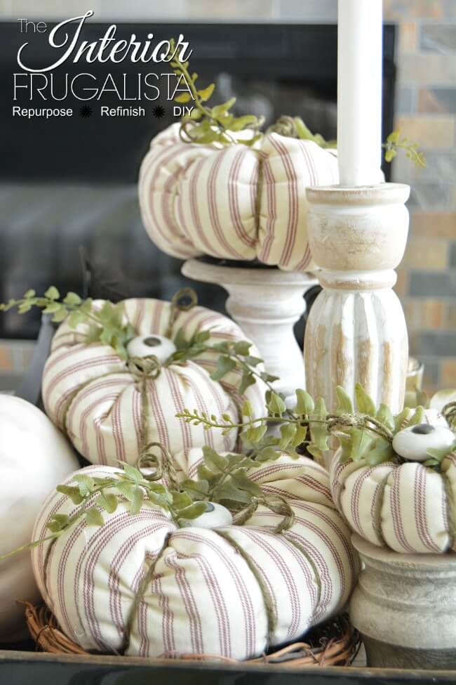 Farmhouse Ticking Fabric Pumpkins