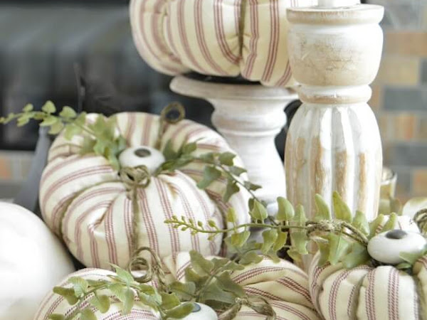 Ticking Fabric Pumpkins with Cabinet Knob Stems