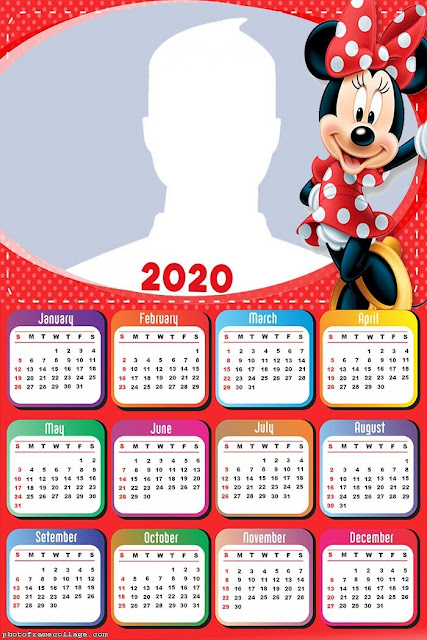 Minnie Mouse in Red: Free Printable 2020 Calendar.