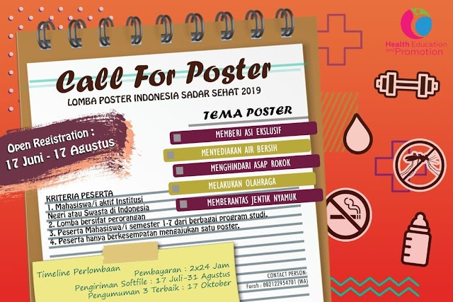 We call for poster competition Indonesia sadar sehat 2019 (Open Registration : 17 Juni - 17 Agustus 2019)