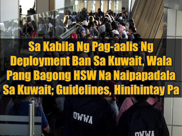 """Despite the lifting of the deployment ban and the signing of the memorandum of understanding (MOU) for the protection of  Filipino household workers, not a single  HSW has been sent to Kuwait.  The memorandum of understanding has been signed between Philippines and Kuwait to ensure the safety and security working condition of OFWs in the Gulf State. Among the key features of the agreement that covers all household service workers and skilled workers deployed in Kuwait is the provision for food, housing, clothing and registration in the health insurance system for domestic workers, as well as the use of cellular phones so that OFWs could communicate with their relatives in the Philippines. The employer should no longer keep the employee's passport. The MOU also provides that the employer should open a bank account under the domestic worker's name to allow the reasonable opportunity to remit his or her monthly salary to relatives in the Philippines. The transfer of workers to another employer should be with the consent of the Filipino workers or with the approval of the Philippine Overseas Labour Office. Advertisement        Sponsored Links       During the second hearing of the Senate Committee on Labor, Employment, and Human Resources Development on Wednesday, Secretary Silvestre Bello III said the government is still not sending household service workers (HSWs) to the Gulf State pending the guidelines for their deployment, following the MOU between Kuwait and the Philippines on the protection of overseas Filipino workers (OFWs).  """"Administrator [Bernard] Olalia of the POEA (Philippine Overseas Employment Administration) is still crafting the guidelines to see to it that the OFWs that we will be deploying will be sufficiently protected,"""" Bello told the Senate panel.  Asked about their target on when the HSWs can be deployed, Bello answered, """"Sabi ni Administrator Olalia, next week po, lalabas na po yung guidelines (Olalia said the guidelines will be released next we"""