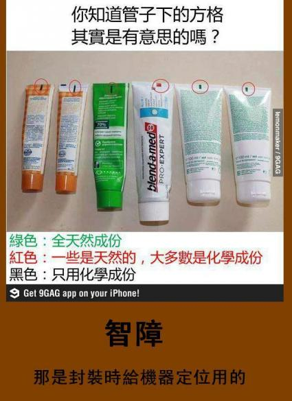 牙膏 洗面乳 方格 綠色 紅色 黑色 化學