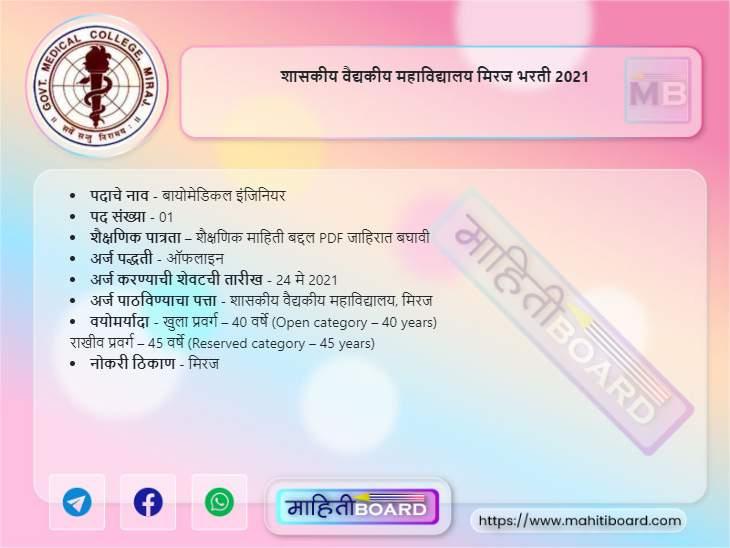 GMC Miraj Bharti 2021