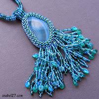 купить заказать кулон из бисера с натуральными камнями агатом голубой бирюзовый