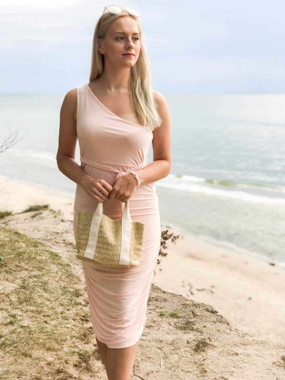 Pink One Shoulder Slinky Midi Dress