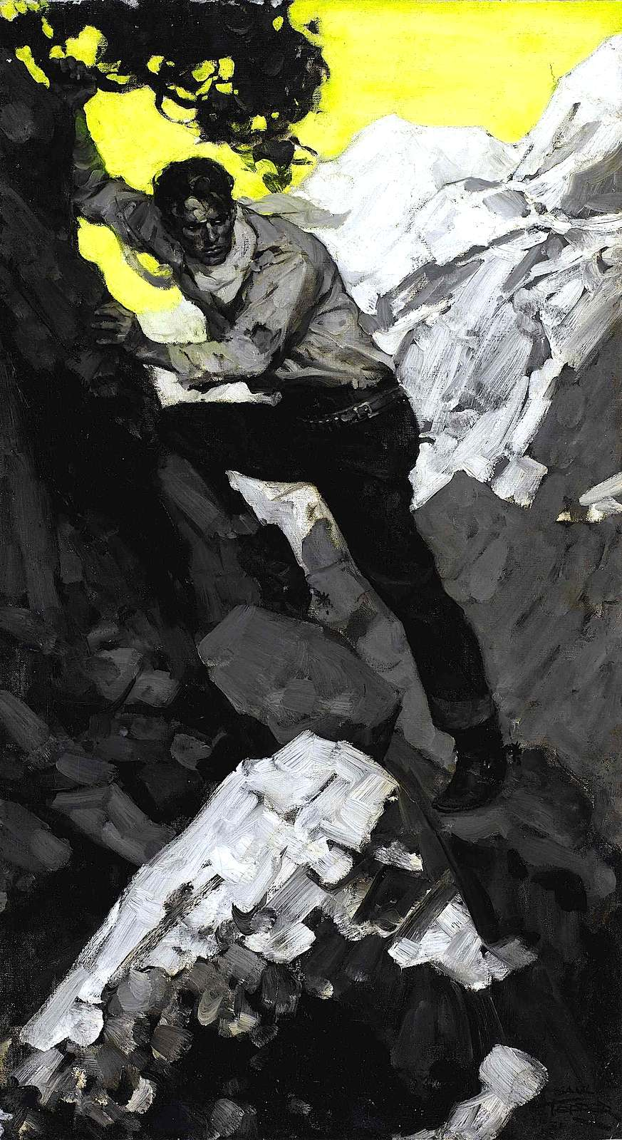 Saul Tepper magazine illustration of a climbing man