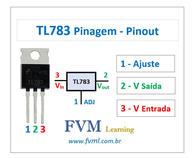 Pinagem - Pinout - Regulador de tensão TL783 - Características