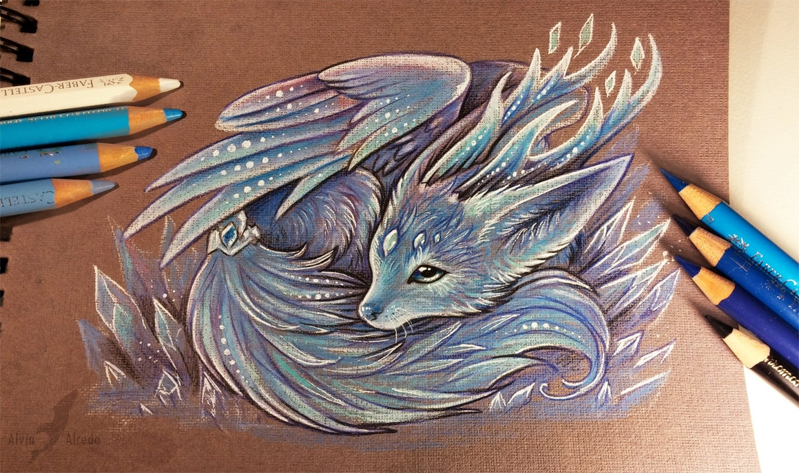 10-Crystal-fox-spirit-Alvia-Alcedo-Dragon-and-other-Mythical-Fantasy-Drawings-www-designstack-co