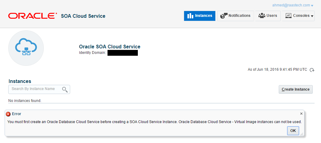 Raastech Blog: You must first create an Oracle Database Cloud