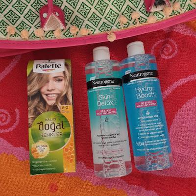 Pallete kalıcı doğal renkler 8.0, neutrogena hydo boost micellar water, neutrogena skin detox misel su
