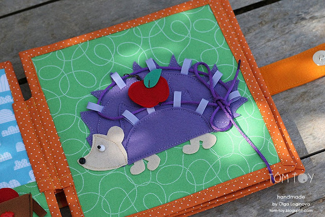 Quiet book for Ariana, Handmade personalized busy book made by TomToy, lacing hedgehog