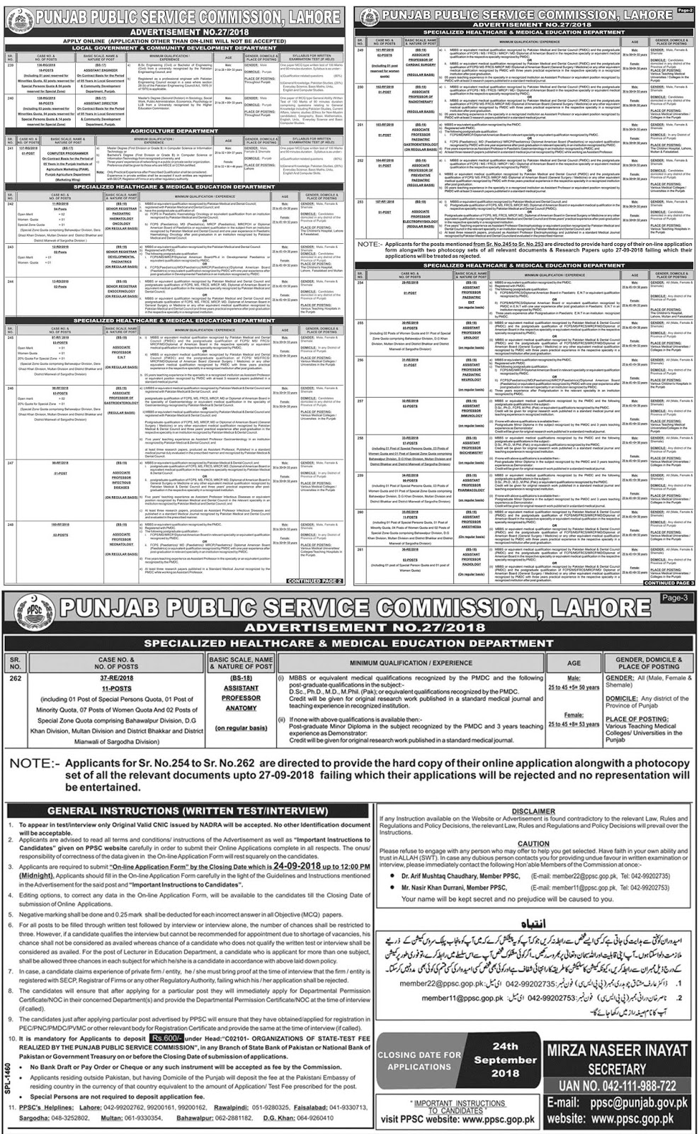 Latest Vacancies Announced in PPSC.GOP.PK Punjab Public Service Commission PPSC 9 September 2018