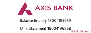 Axis  bank balance enquiry number list