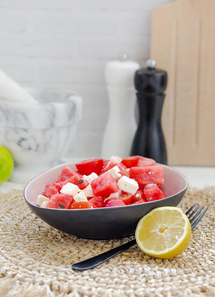 Wassermelonen-Tomaten-Feta Salat