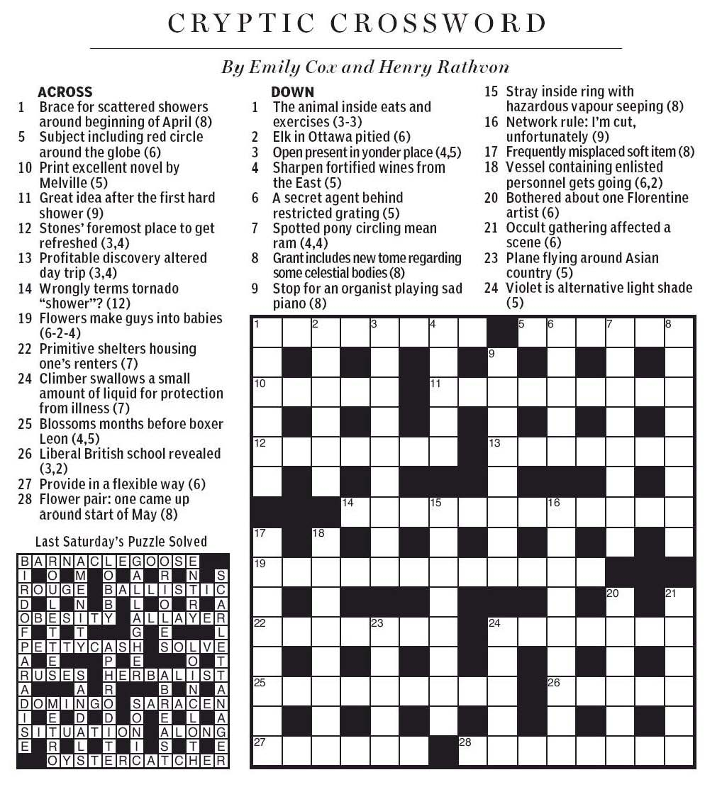National Post Cryptic Crossword Forum: Saturday, April 27
