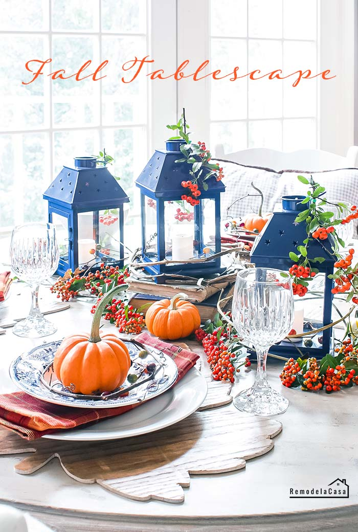 Blue and orange fall - thanksgiving tablescape