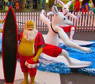 Christmas Kangaroos Surfing in Surfers Paradise